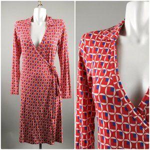 Boden Red Circle Square Print Wrap Dress